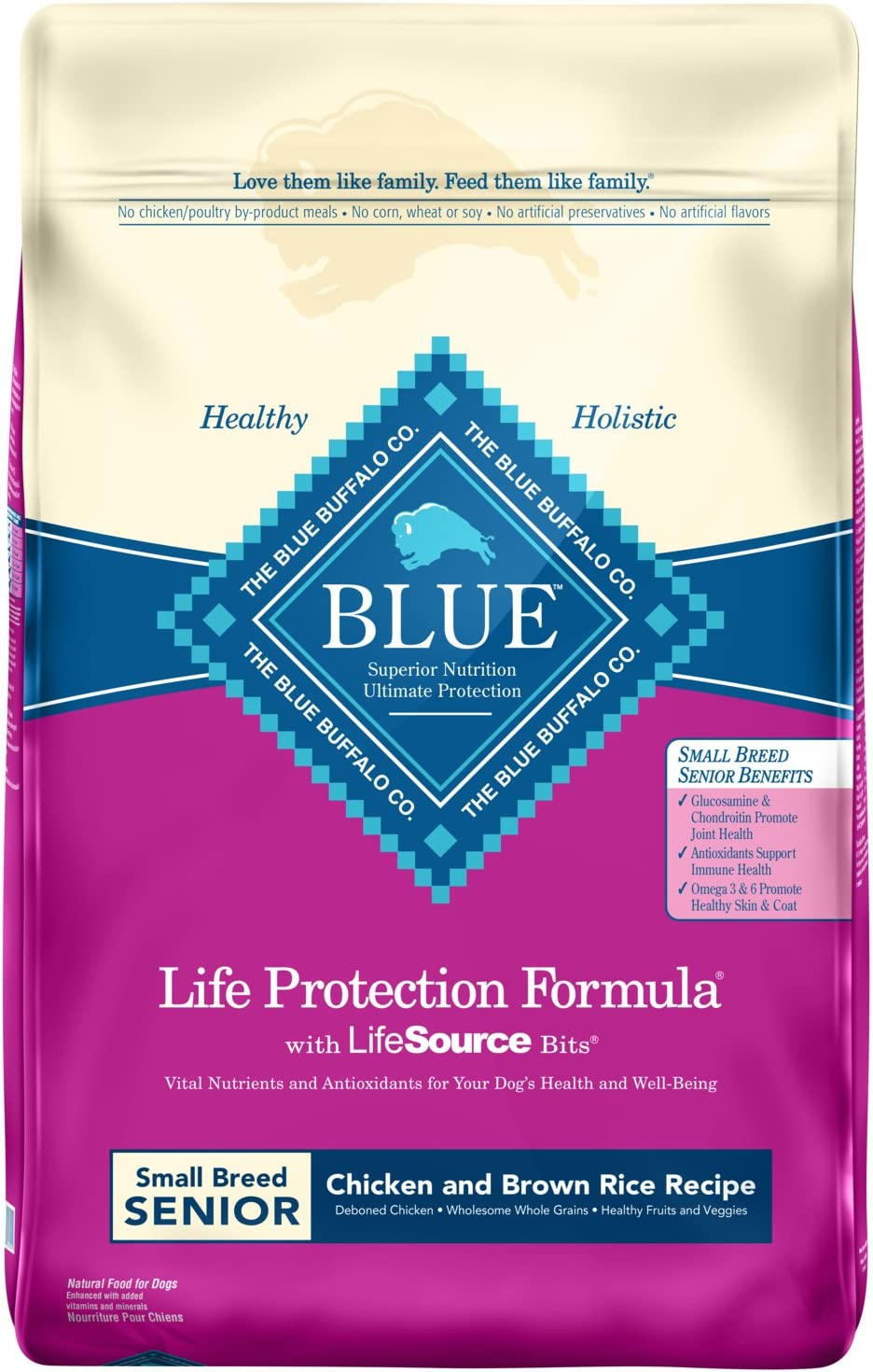 Blue Buffalo Life Protection Formula Small Breed Senior Dog Food Natural Dry Dog Food for Senior Dogs Chicken and Brown Rice 15 lb. Bag