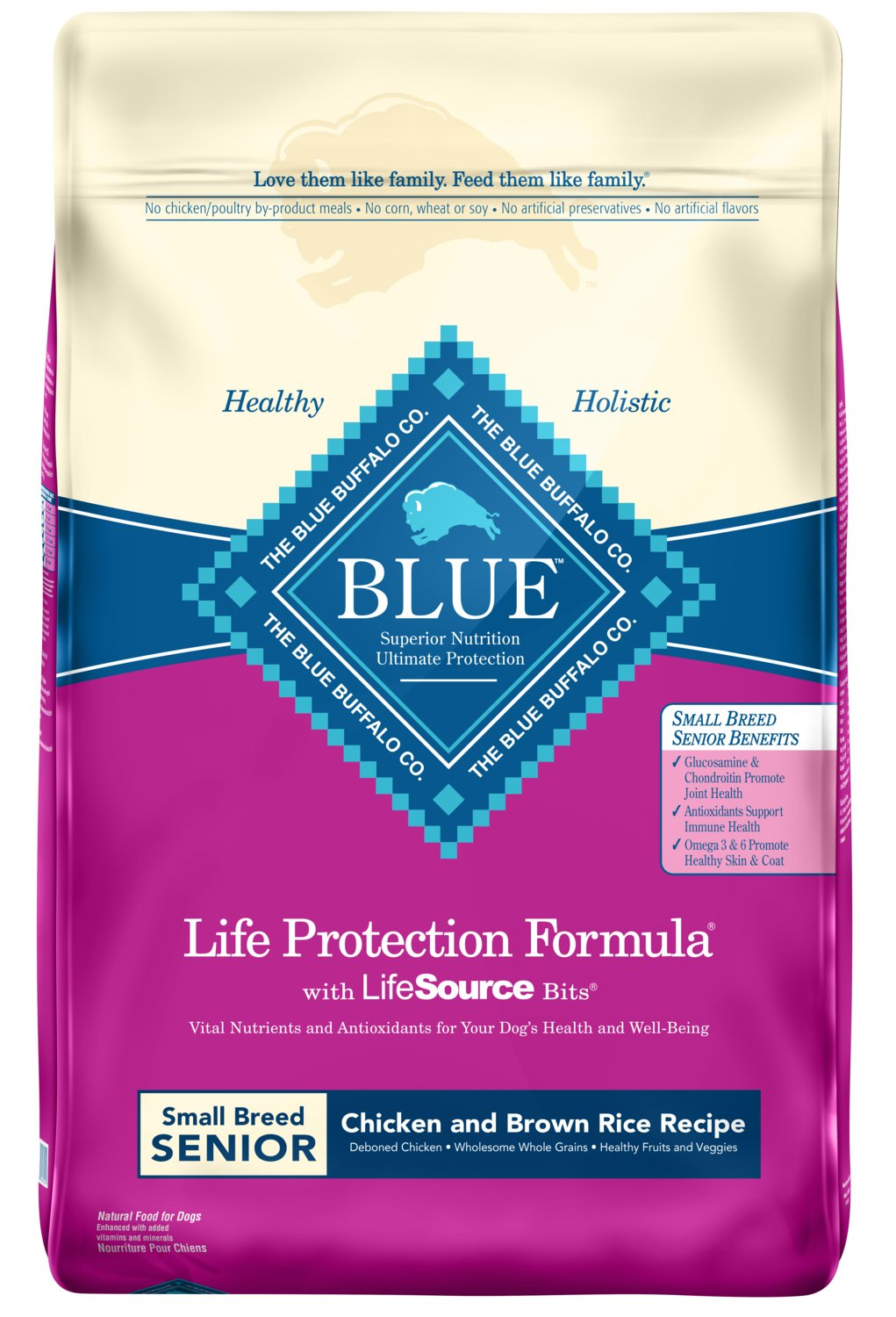 Blue Buffalo Life Protection Formula Natural Senior Small Breed Dry Dog Food, Chicken and Brown Rice 15-lb
