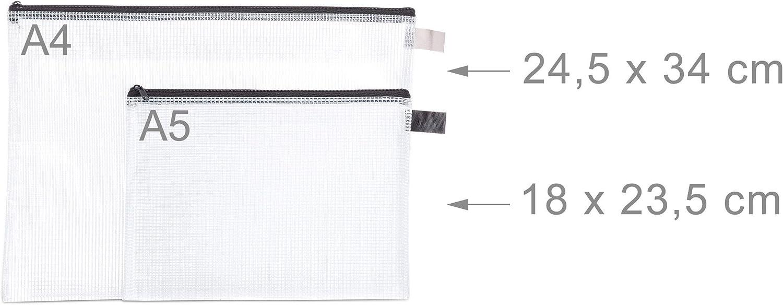 Dokumentenmappe Reise PVC Schlaufe Relaxdays DIN A4 /& A5 klar//schwarz Dokumententasche 6 St/ück Standard Rei/ßverschluss