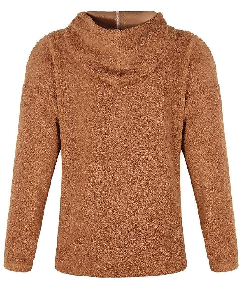 HTOOHTOOH Women Fleece Tops Casual Solid Thicken Hoodies Pullover Sweatshirts