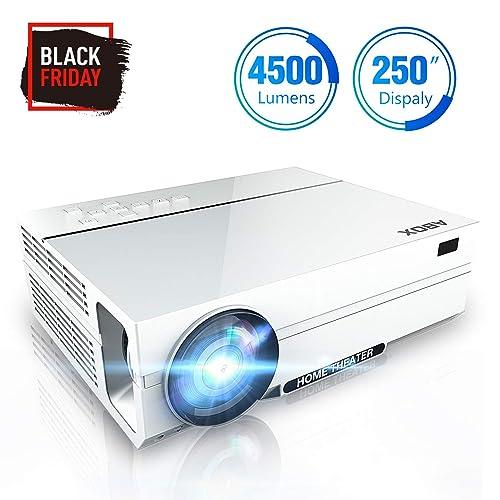 Proyector 4500 Lúmenes ABOX A6 Resolución Nativa 1920 1080P LED Video Proyector de Cine en Casa Soporte 4K Full HD Upgraded Contraste 4000 1 con Audio Hi Fi y Soporte Presentación Empresarial