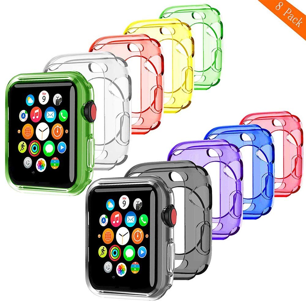 BOTOMALL for Watch Case 38mm 42mm 40mm 44mm, Clear Soft Protector Cover Case for iWatch Series 4 Series 3, Series 2, Sport, Edition (Colorful x8, 38mm)