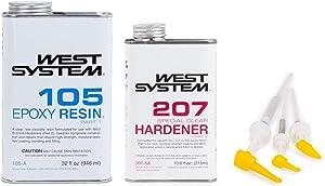 West System 105 Epoxy Resin (1 qt) w/207 Special Clear Epoxy Hardener (.66 pt) + Mini Epoxy Metering Pump Set