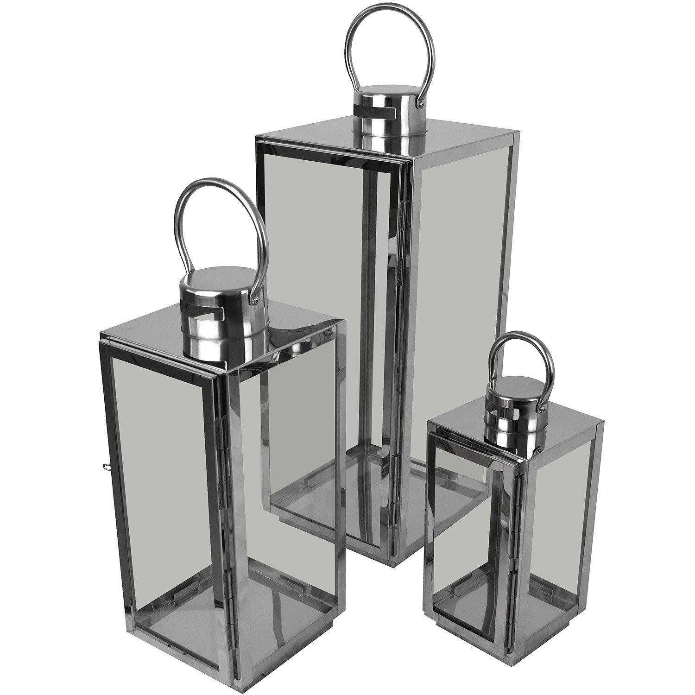 Multistore 2002 3er Set Laternen mit aus Henkel H56/42/30cm aus mit Edelstahl/Glas Laternen Windlichter Gartendekoration Silber f3b7e5