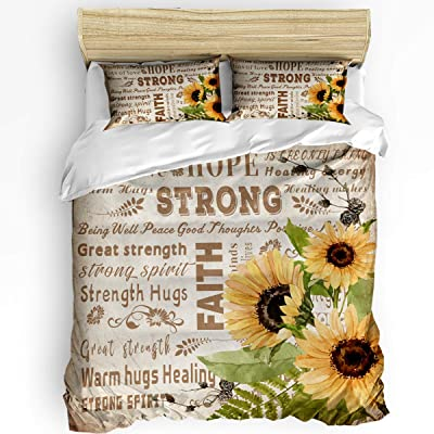 Full Size Bedding Sets Hope Strong Faith Warm Sunflower Oil Painting Duvet Quilt Cover Set with 2 Decorative Pillowcases for Childrens/Kids/Teens/Adults, 3 Pieces, 50% Cotton+50% Polyester Vintage: Home & Kitchen