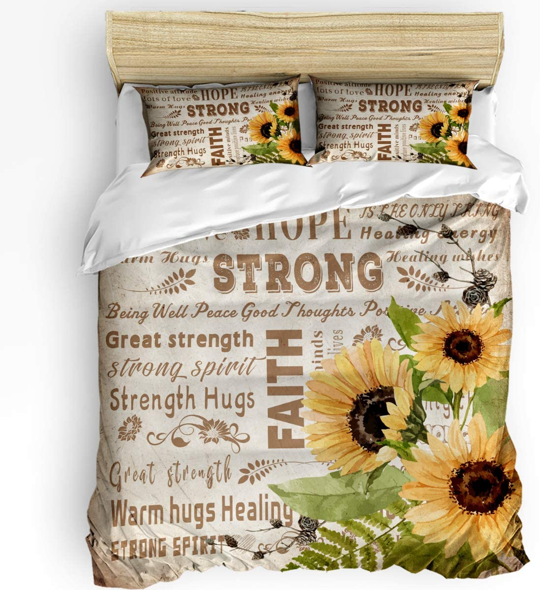 50/% Cotton+50/% Polyester Vintage 3 Pieces California King Bedding Sets Hope Strong Faith Warm Sunflower Oil Painting Duvet Quilt Cover Set with 2 Decorative Pillowcases for Kids//Teens//Adults