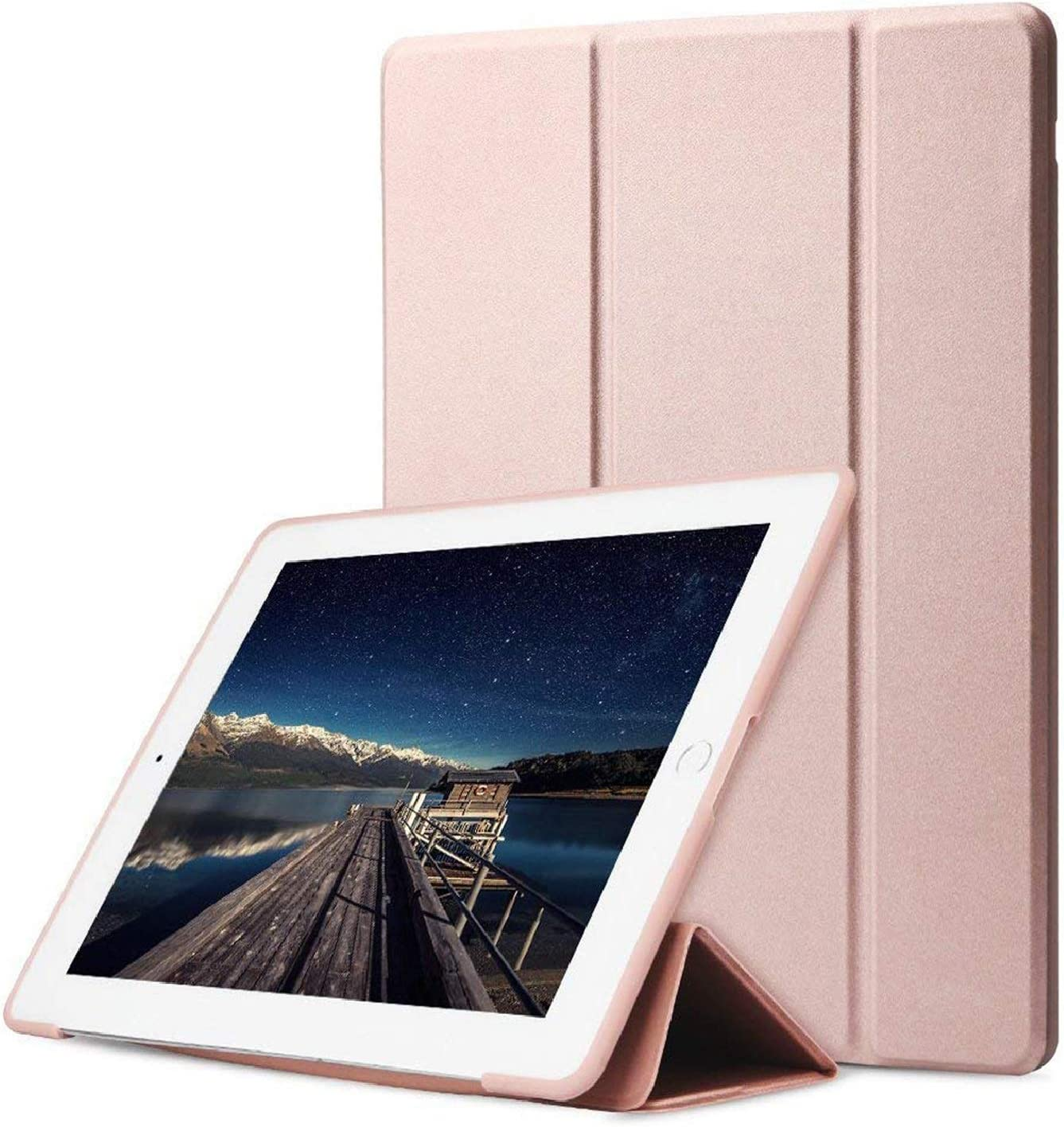DuraSafe Cases for iPad Air 2 Gen 2014 9.7 Inch [ A1566 A1567 ] Soft Silicone Back (for Extra Shock Protection) Ultra Slim Smart Cover Auto Sleep/Wake - Rose Gold