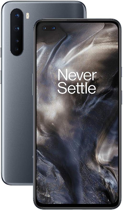 OnePlus 8 North Smartphone, 6.44 Inch Fluid AMOLED Display 90 Hz, Quad Camera, Warp Charge 30T, Dual SIM, 5G, 128 GB, Onyx Grey