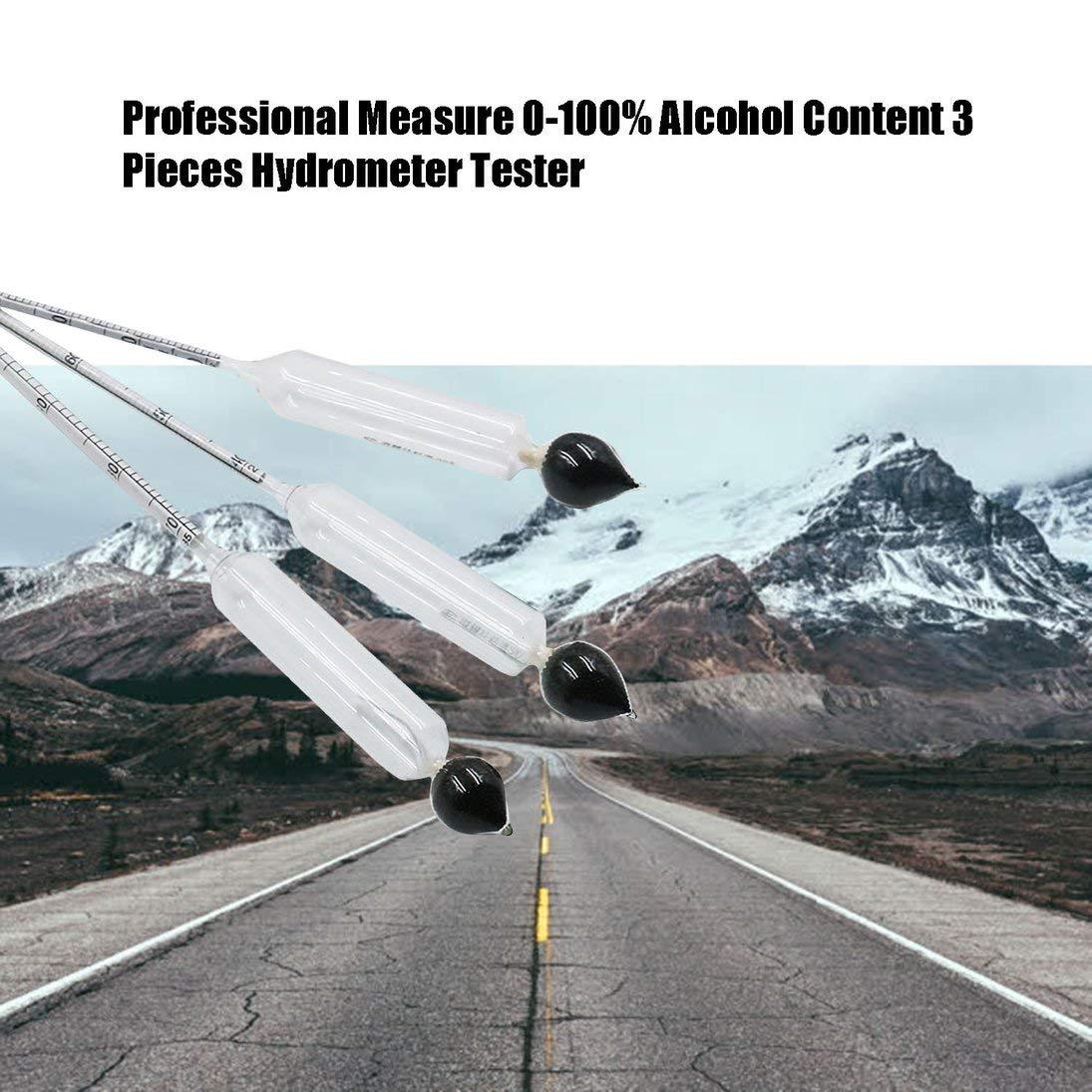 Mesure professionnelle 0-100/% de teneur en alcool 3 pi/èces Hydrom/ètre Testeur Thermom/ètre Set Instrument de mesure du vin ToGames-FR transparent