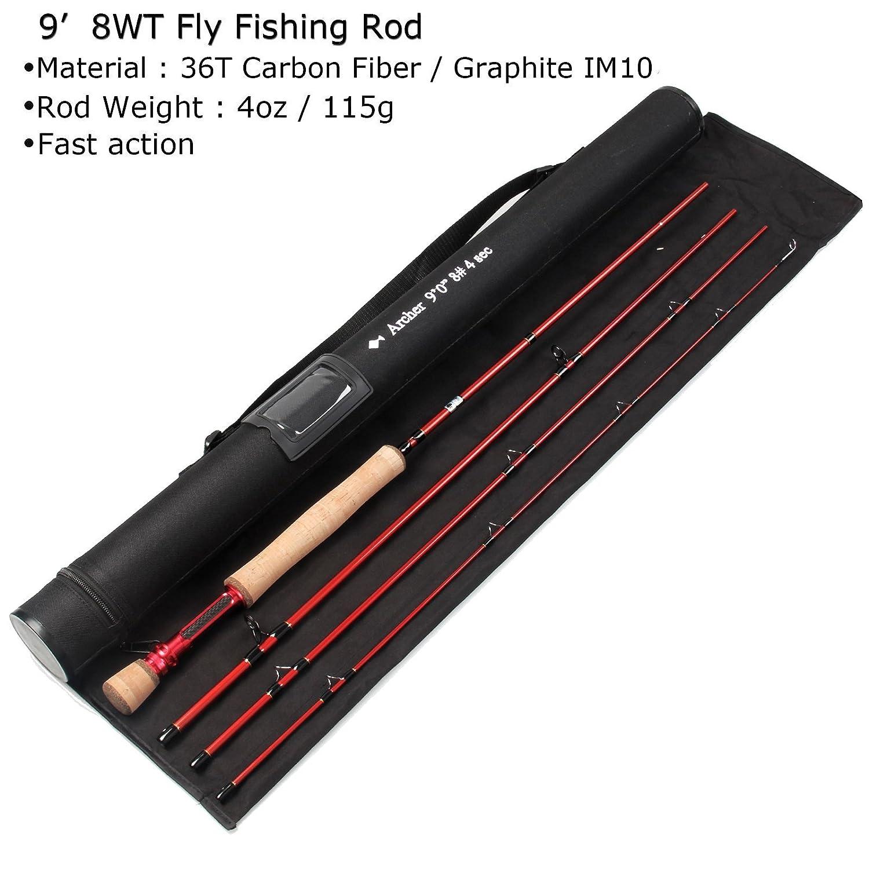 anglerdream Archer Fly釣りロッド4セクション3 / 4 / 5 / 8 wt高速アクションダークグリーンフライロッドGraphite Im 10 / 36tカーボンファイバーフライロッドCNC加工ゴールデンアルミリールシートCordura布でチューブ B07G25HLFG Red Archer 9084 Red Archer 9084