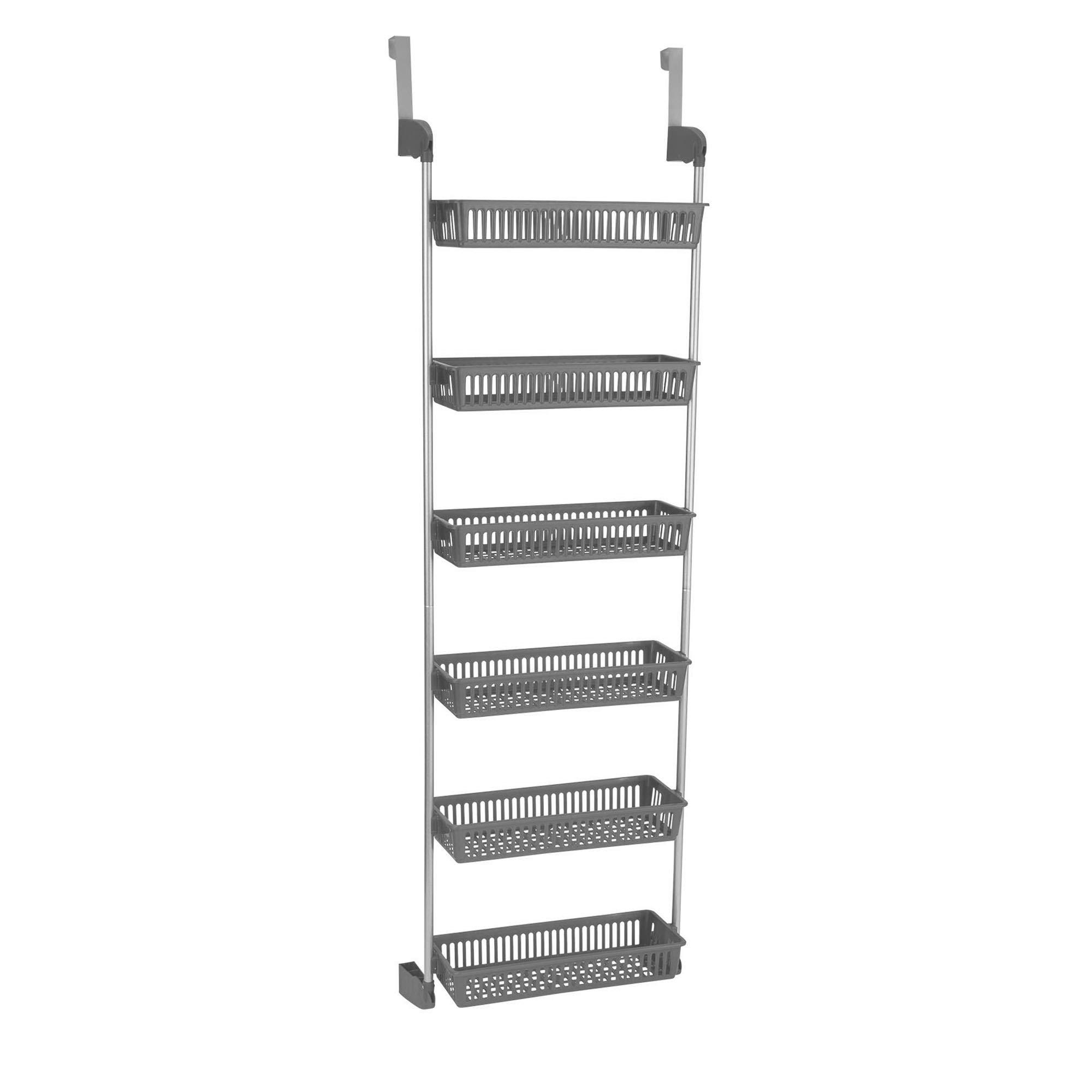Household Essentials 2150-1 Over The Door Storage Shelves 6-Tier   Grey