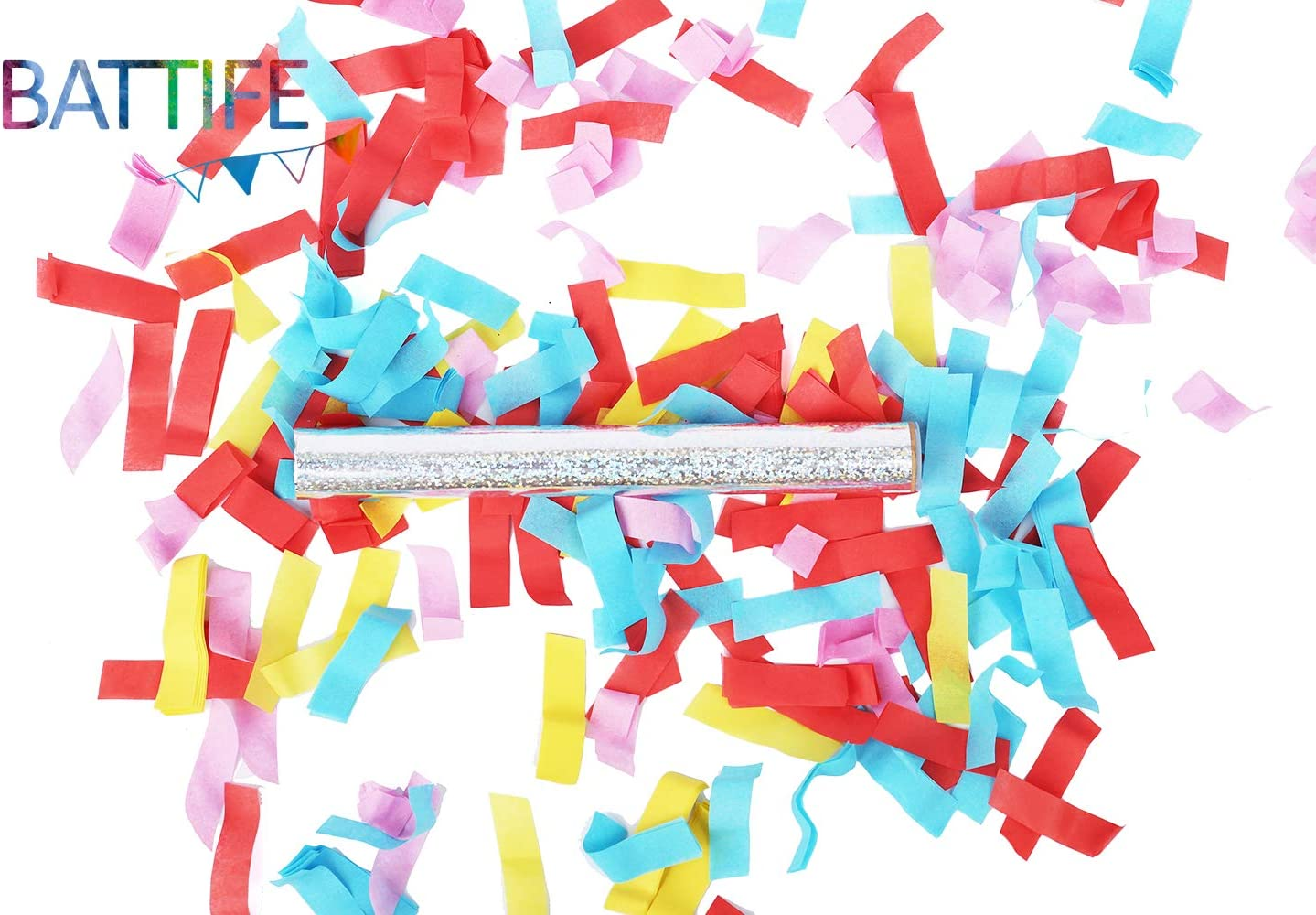 Anniversary 7.8inch Birthday Party Battife Confetti Wands 20Pack Colorful Biodegradable Tissue Confetti Flick Flutter Sticks for Wedding Celebrations