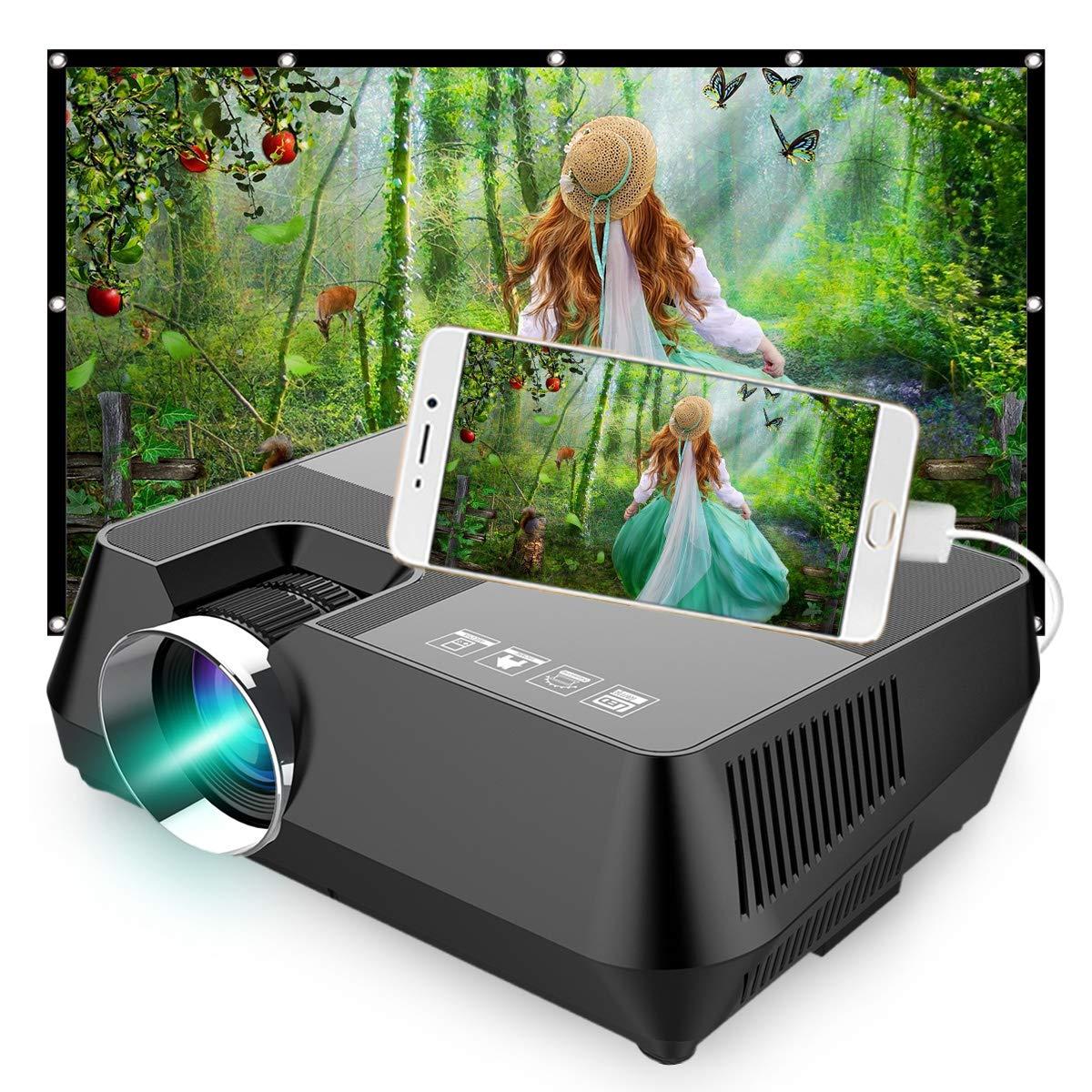 CANGSIKI LCD Pico Portable Smart Mini Projector, FHD 4.0'' LCD Multimedia Video Projector Home Theater Multimedia Projector HDMI C3