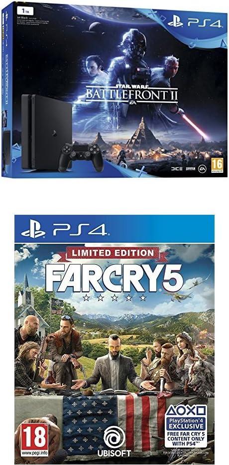 PlayStation 4 (PS4) - Consola 1 TB + Star Wars Battlefront + Far Cry 5 - Edición Limitada (Exclusiva Amazon): Amazon.es: Videojuegos