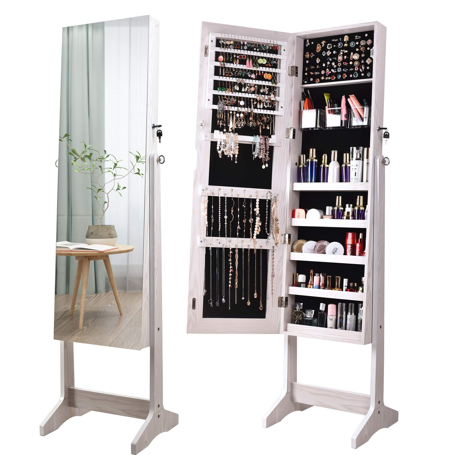 ORAF Jewelry Organizer,Jewelry Armoire Cabinet Standing Jewelry Box with Full Body Mirror and Large Storage Lockable Wooden Cabinet