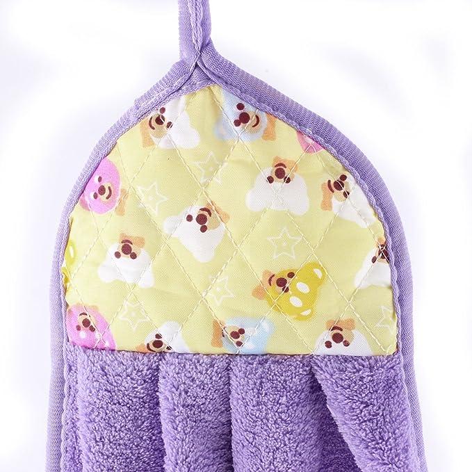 Amazon.com: eDealMax osos patrón de cocina colgados de la pared de limpieza en la toalla de Mano de secado púrpura: Home & Kitchen