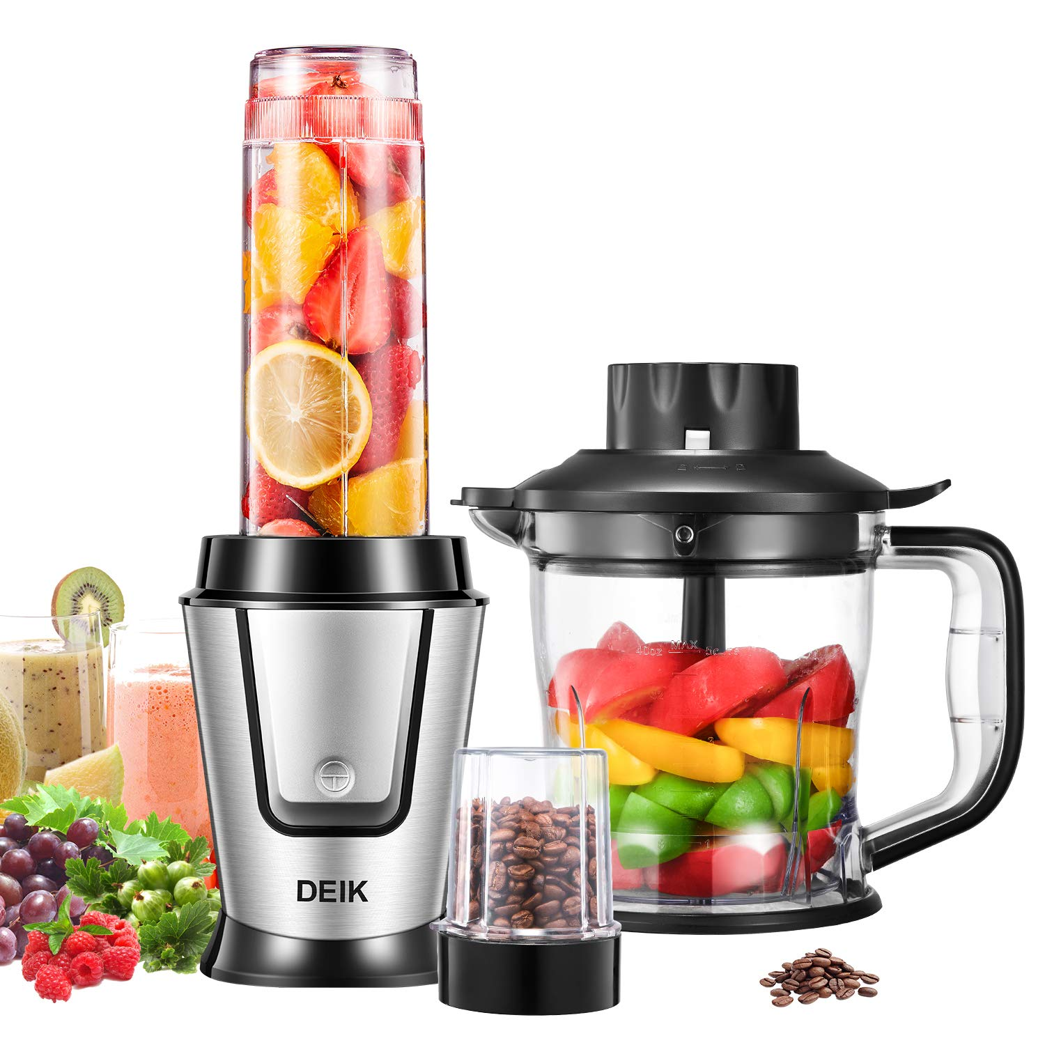 Smoothie Blender, Deik 3 in 1 Multifunction Personal Blender with Variety Size Blending Cup, Including Chopper Attachment, Travel Portable Bottle and Grind Cup, Mixer Blender for Shakes & Smoothies