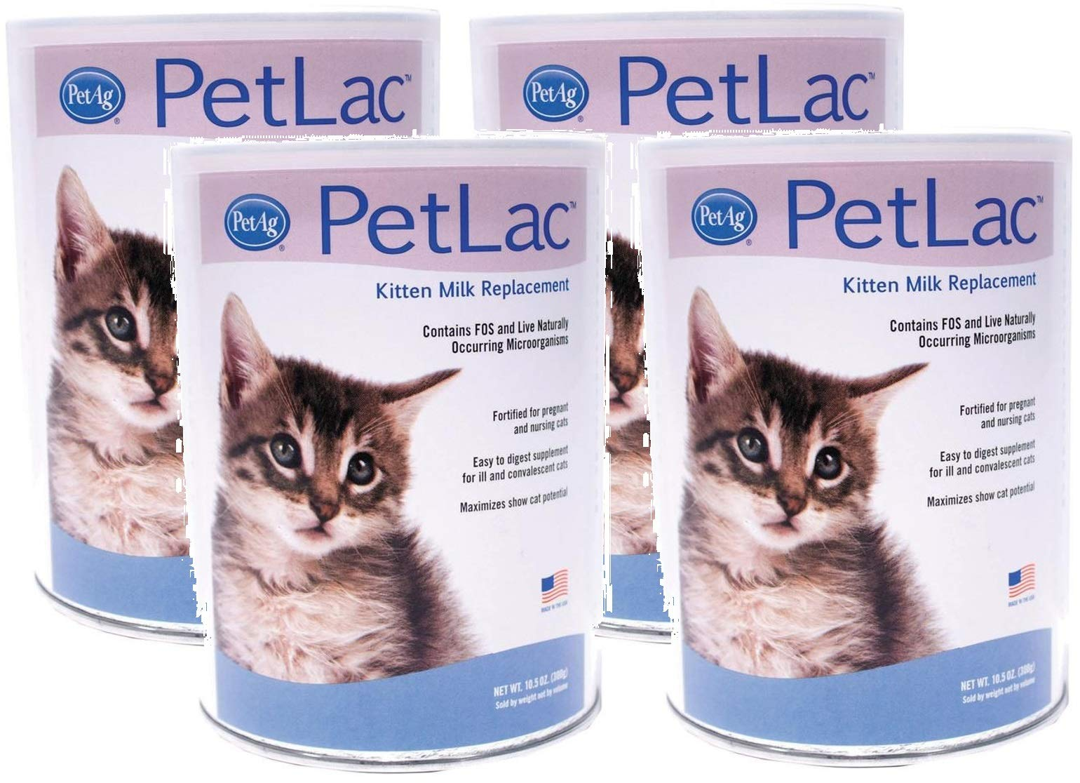 Pet Ag 4 Pack of PetLac Milk Powder for Kittens, 10.5-Ounce Each