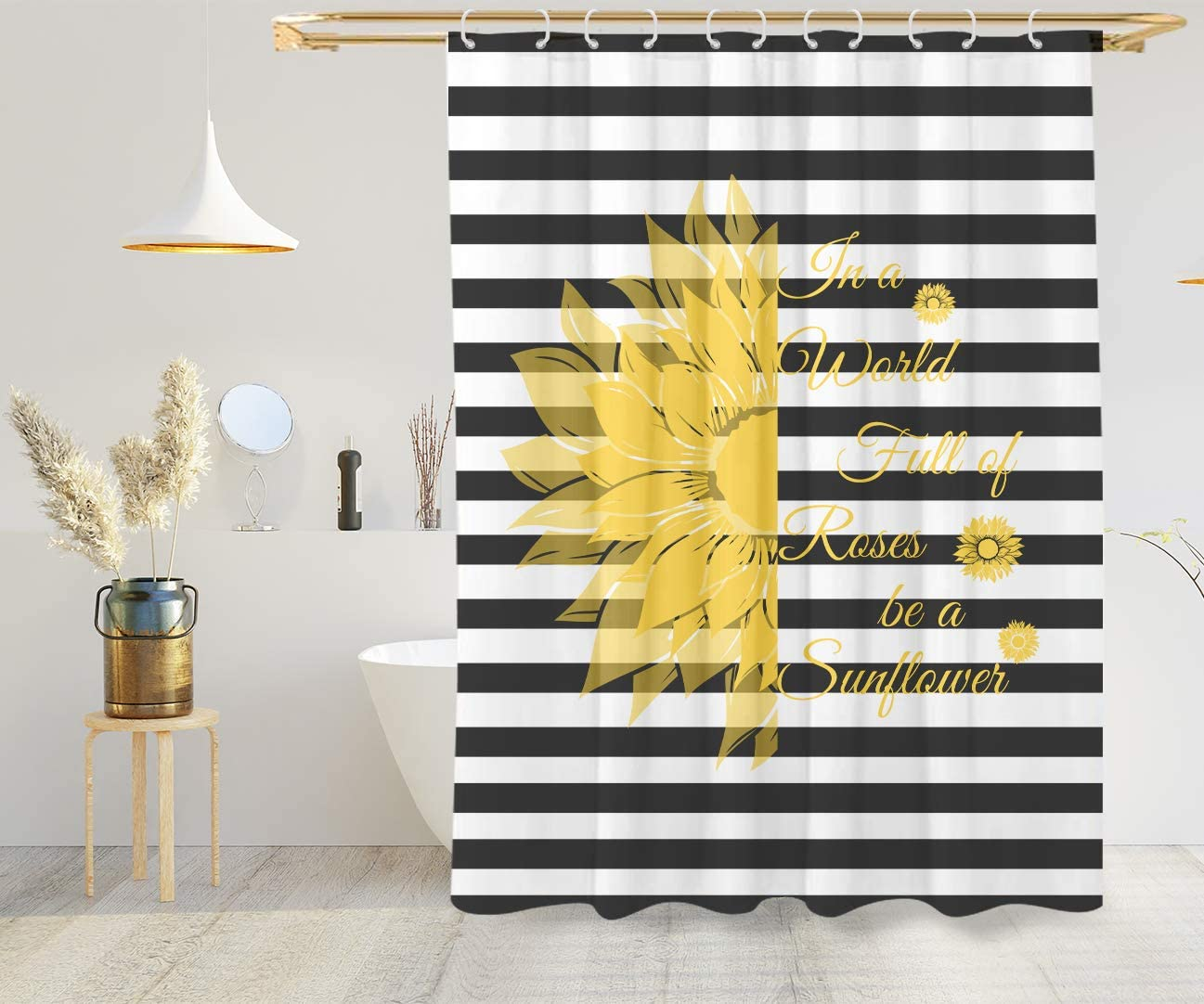VEGA U Sunflower Quote Fabric Shower Curtain for Bathroom, Black and White Stripe Bath Decor with Hooks, Hotel Quality, 72x72 Inch, Yellow (Yellow)
