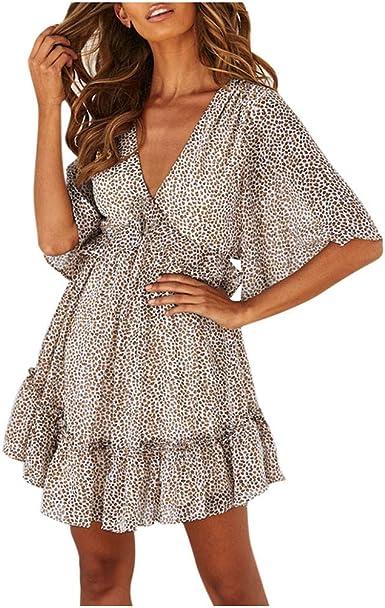 AIni Vestido De Playa De Verano Para Mujer,Vestido Estampado Leopardo Vestido Corto De Fiesta Vestido De Volantes Con Cuello En V Profundo Vestido Casual Retro Vestido De Playa De Manga Corta Vestidos:
