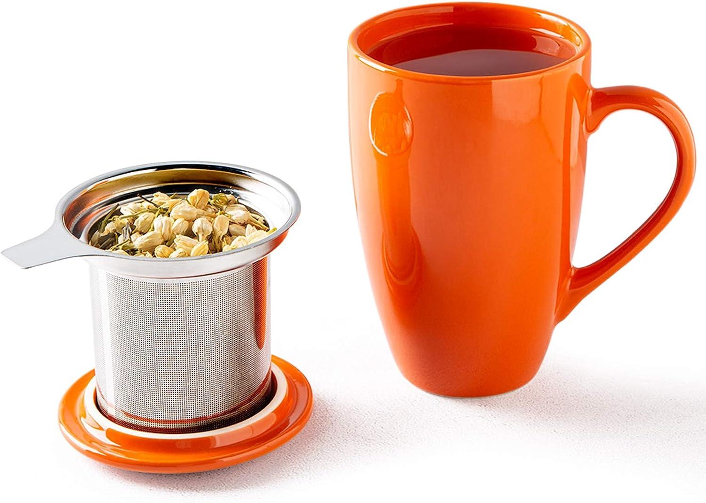 GBHOME Tea Mug with Infuser and Lid, 17 OZ Large Tea Strainer Cup with Tea Bag Holder for Loose Tea, Ceramic Tea
