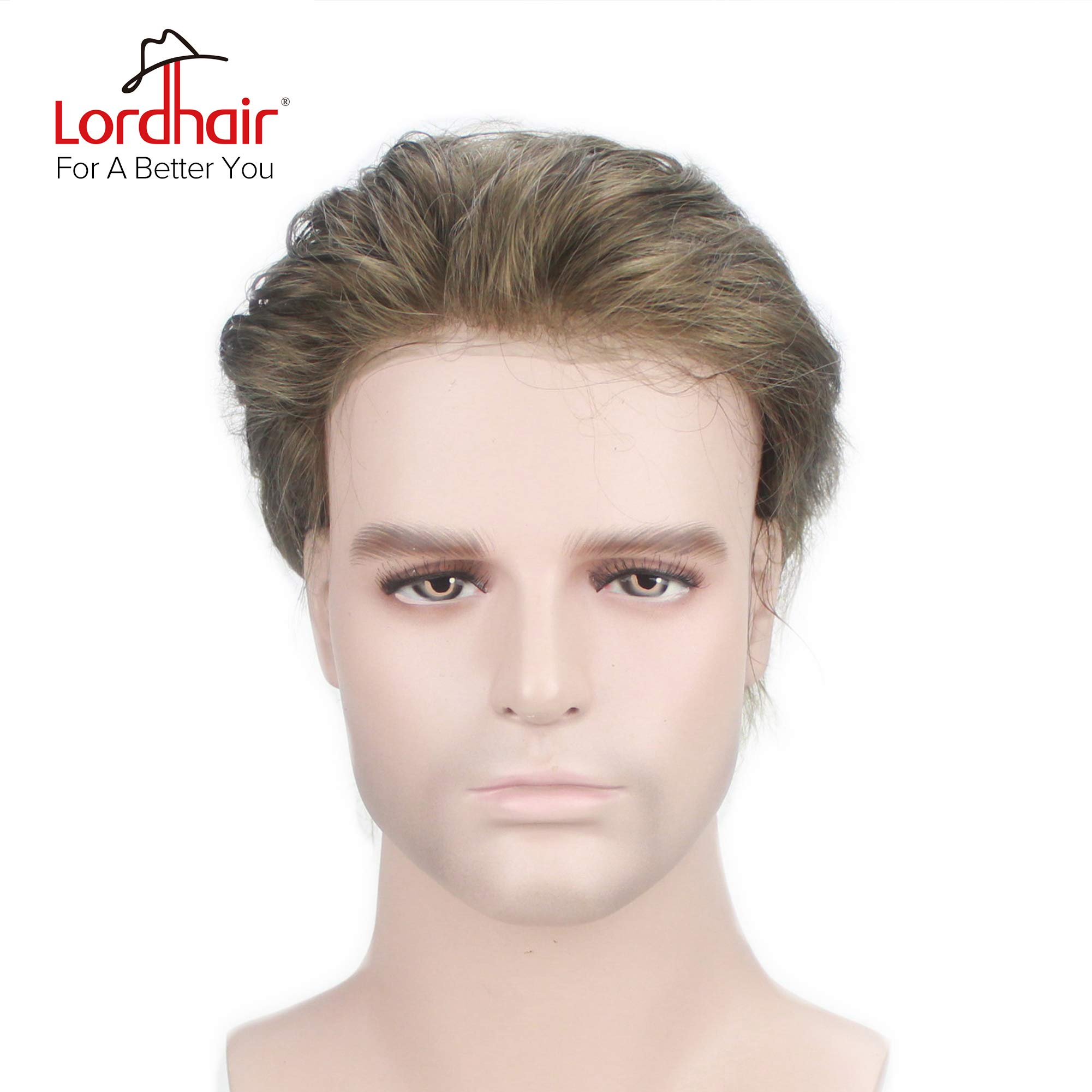 Lordhair Human Hair Super Thin Skin Men's Toupee V-looped Hair Color 7# without Knots