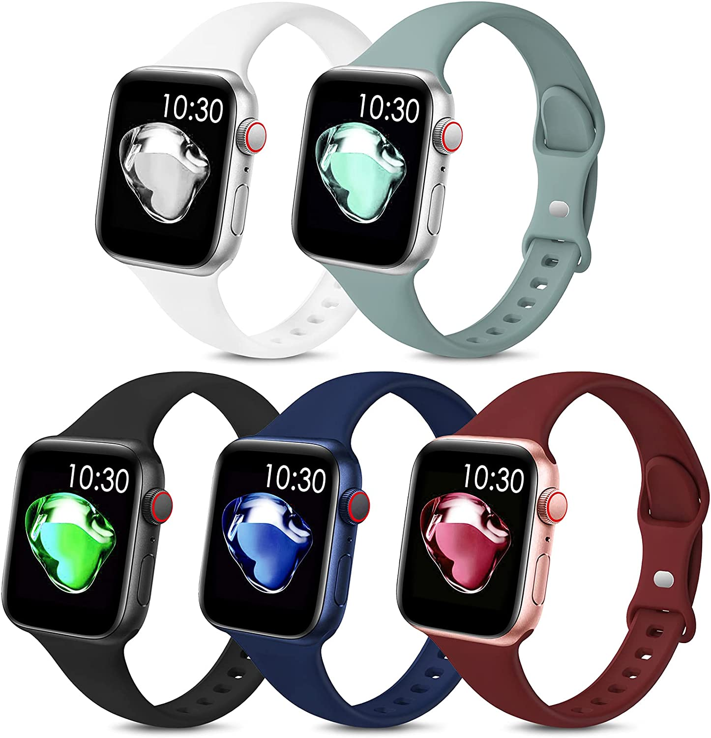 5 Pack Sport Slim Bands Compatible with Apple Watch Bands 38mm 40mm 42mm 44mm Women Men,Thin Silicone Soft Replacement Strap Wristband for iWatch Series 6 5 4 3 2 1 SE(42MM/44MM,Color3)