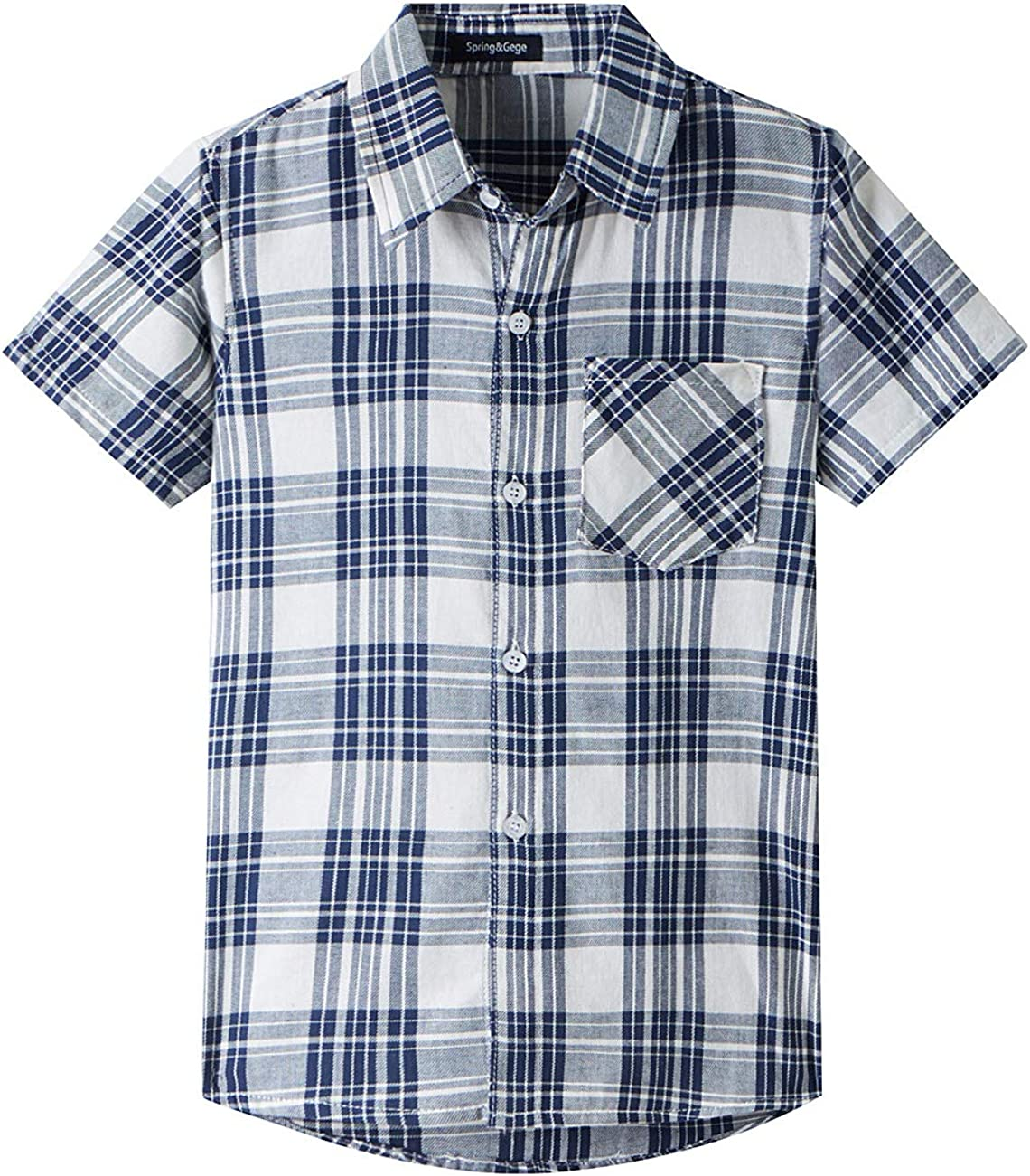 Spring&Gege Boys' Casual Short Sleeve Button Down Shirts Cotton Plaid: Clothing