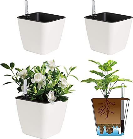 T4U Self Watering Planter Pot Round Blue 7.5 Inch Set of 4 Plastic Plant Pot with Water Storage Base Indoor Outdoor Decorative Garden Flower Bonsai Pot for Aloe Herb Orchid and Succulent Plants