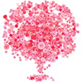 Rustark 650Pcs Resin Buttons Favorite Findings Basic Buttons 2 and 4 Holes Craft Buttons for Arts, DIY Crafts, Decoration, Sewing - Sizes Range from 0.28 to 1.18 Inch (Pink)