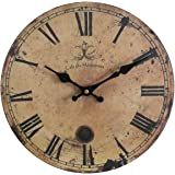 """Eruner 12-inch Vintage Wood Wall Clock - France Paris *Cafe des Marguerites* Country Retro Style Non-Ticking Silent Wooden Wall Clock (#09, 12"""")"""