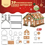 Gracelaza 10 Pieces Christmas Gingerbread House Cookie Cutters Set - Stainless Steel Metal Baking Molds