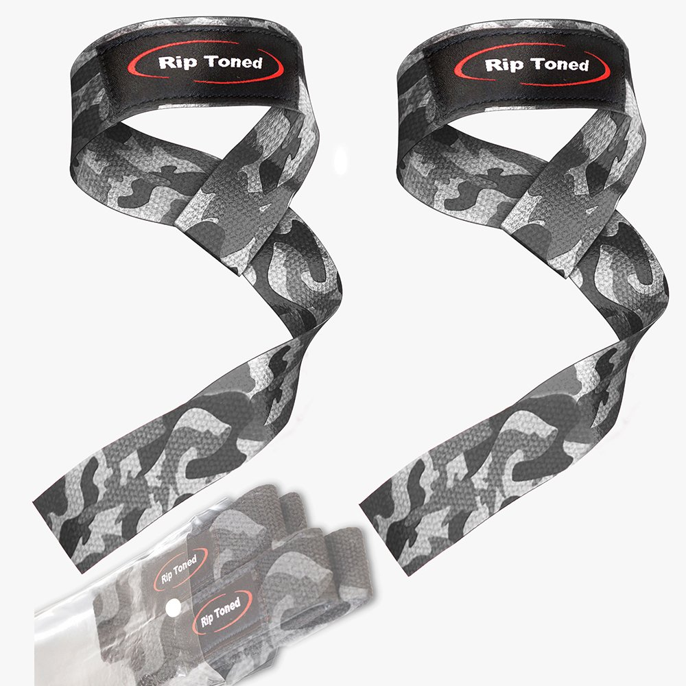 Rip Toned Lifting Wrist Straps by (Pair) - Bonus Ebook - Cotton Padded - for Weightlifting, Bodybuilding, Crossfit, Strength Training, Powerlifting, MMA (Grey Camo) by Rip Toned