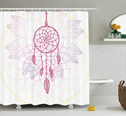 Ambesonne Hippie Shower Curtain Ethnic Style Dream Catcher Concept Artwork Asian Ancient Vintage Cloth