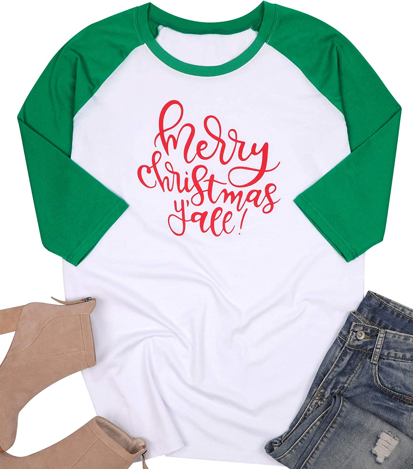 MNLYBABY Women Plus Size Merry Christmas Y'all O-Neck Baseball T-Shirt 3/4 Raglan Sleeve Letters Print Top for Women