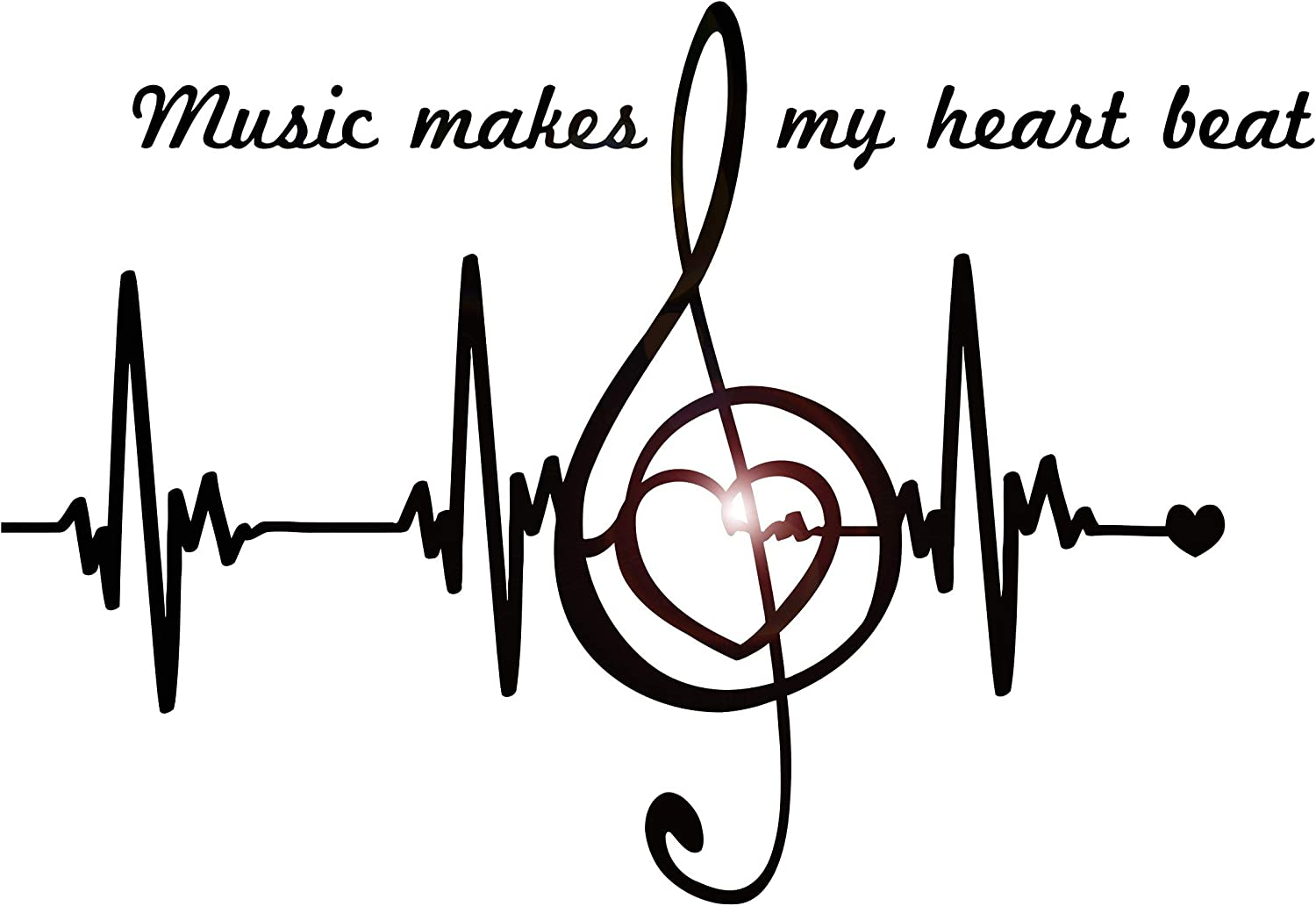 DesignToRefine Vinyl Wall Decal Music Notes Quote Heart Pulse Heartbeat Stickers Large Decor (1439ig) Black