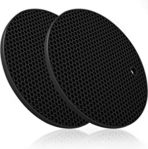Premium Silicone Trivets for Hot Pots and Pans, Non Slip, Heat Resistant, Large, Thick Multi-Use Black Food Grade Silicone Pot Holders (2 Piece)