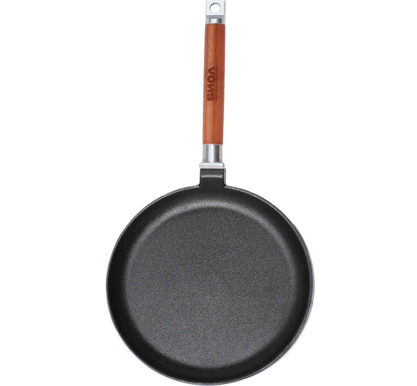 Sartén de hierro fundido de Biol, para tortitas y crepes, 22, 24 cm, mango de madera desmontable, para inducción, negro, 24 cm: Amazon.es: Hogar