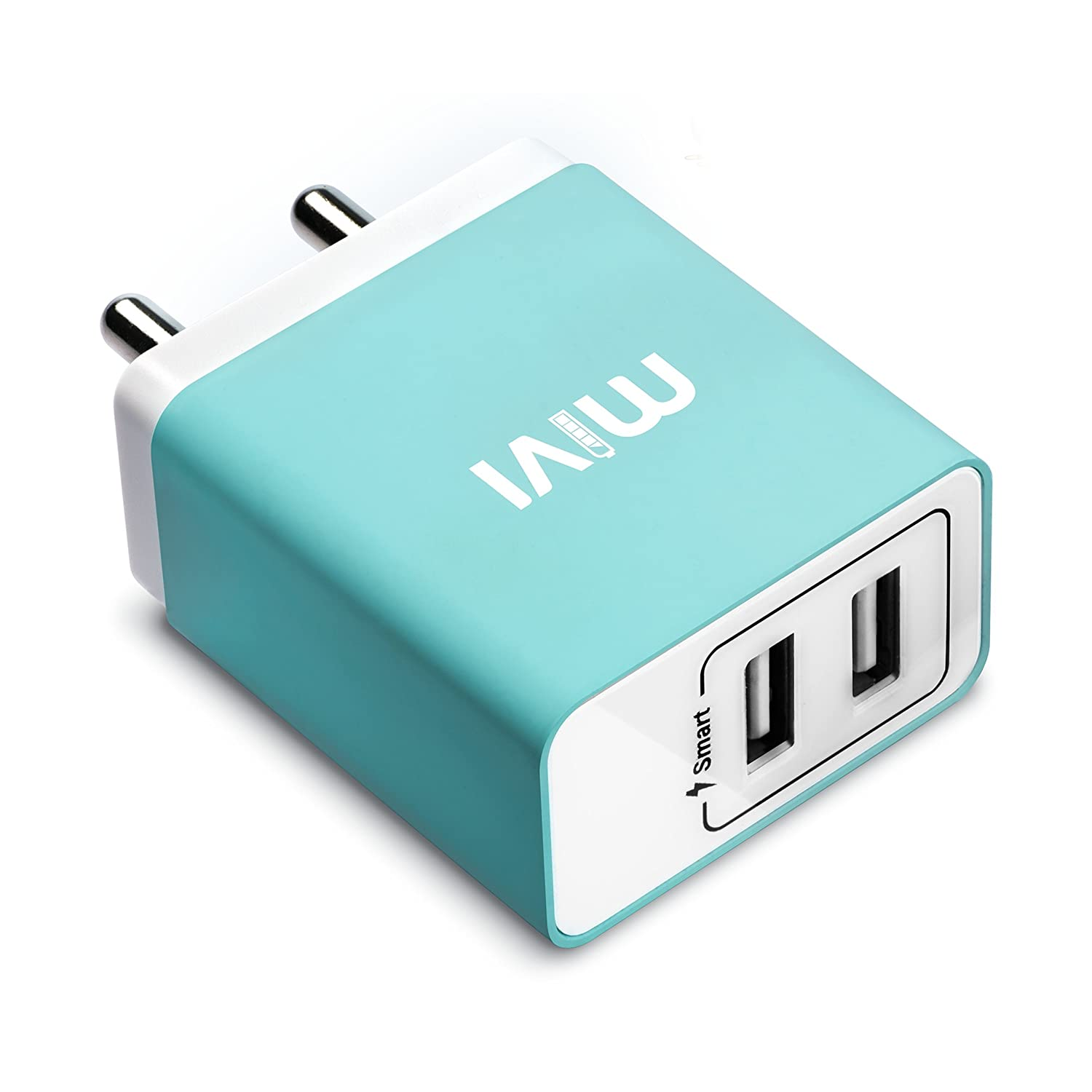 Mivi 31A Dual Port Smart Wall charge adapter with in-built Auto-detect Technology compatible with Android, iOS Phones and all other mobile devices, tablets, power banks, bluetooth speakers, cameras and More (Blue)