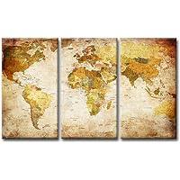 bestpricepictures 160 x 90 cm quadro su tela mappamondo 1166-SCT - stampa/disegno/immagine pronto da appendere