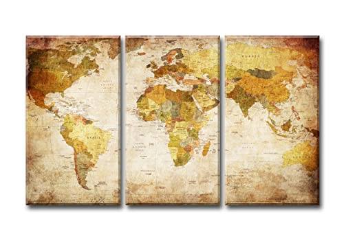 General World Map Black Background Wall Art Painting Pictures Print ...