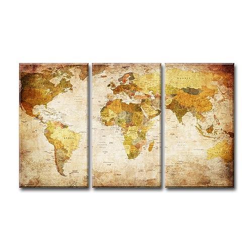 Visario 1166immagini e stampe artistiche su tela Mondo Mappa del mondo 3pezzi, 160x 90cm,