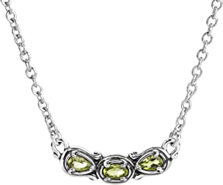 product image for Carolyn Pollack Sterling Silver & Birthstone Gemstone 3 Stone Necklace 16 to 18 Inch - Choice of Gemstone