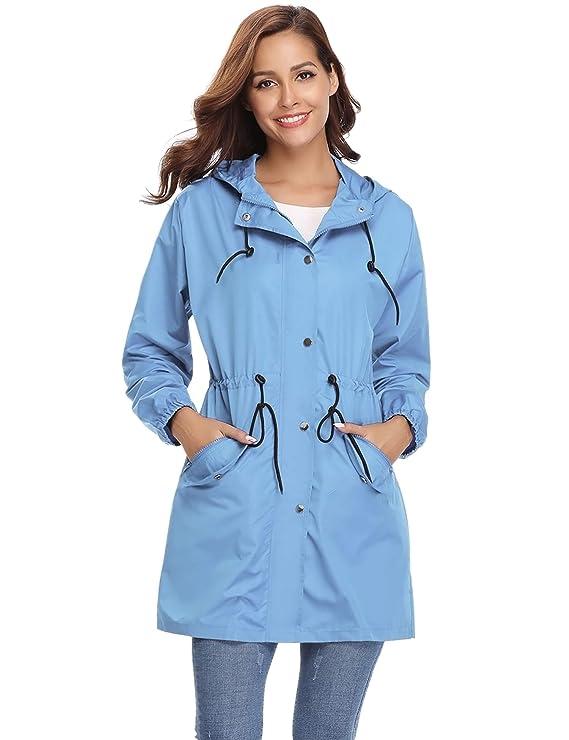 Veste de Pluie Femme Manteau Imperméable Poncho Pluie à Capuche Zippé Cape de Pluie Manches Longues Coup Vent Raincoat pour Voyage Camping Randonnée Vacance Unisexe