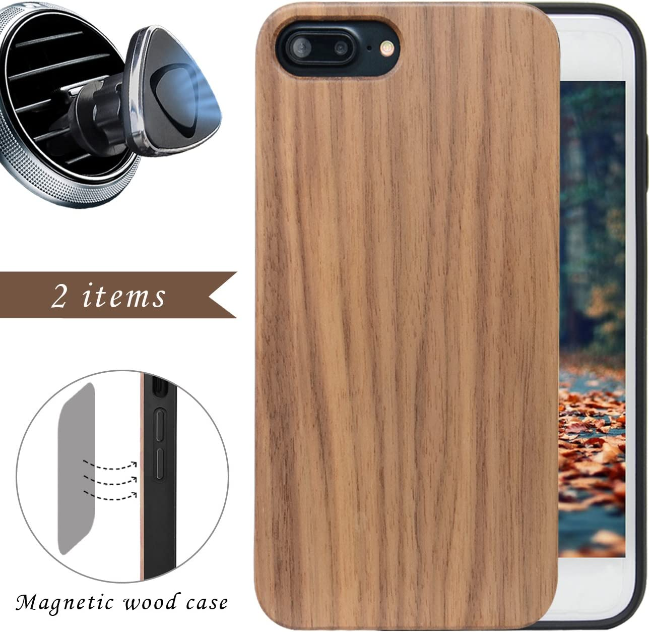 "iProductsUS Wood Phone Case for Men Compatible with iPhone 8 Plus, 7 Plus, 6 Plus (ONLY) and Magnetic Mount - Walnut Blank Cases,Built in Metal Plate,TPU Rubber Protective and Shockproof Cover (5.5"")"