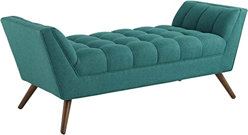 Modway EEI-1789-TEA Response Medium Upholstered Fabric Bench, Armchair, Teal