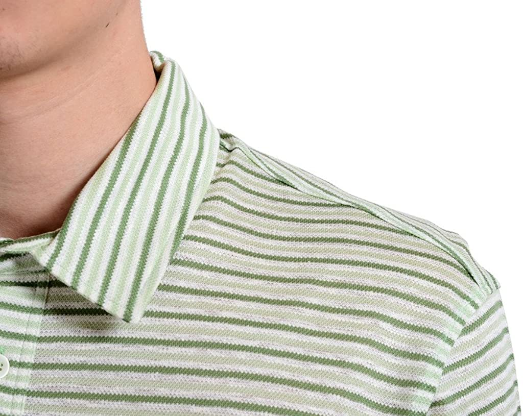 MALO Mens Striped Linen Short Sleeve Polo Shirt