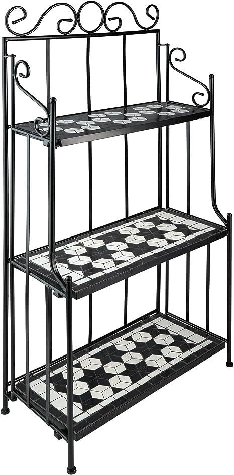 TecTake 800572 - Estantería de Metal Mosaico, 3 Estantes en Mosaico de Piedra, Armazón de Metal Curvado (Negro-Blanco | No. 402771)