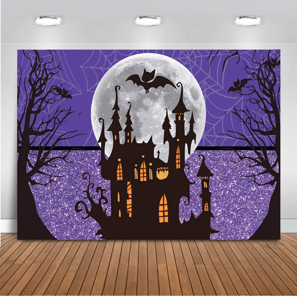 Mocsicka Halloween Party Backdrop Purple Nightmare Moon Castle Bats Party Background 7x5ft Vinyl Horror Night Halloween Banner Backdrops by Mocsicka