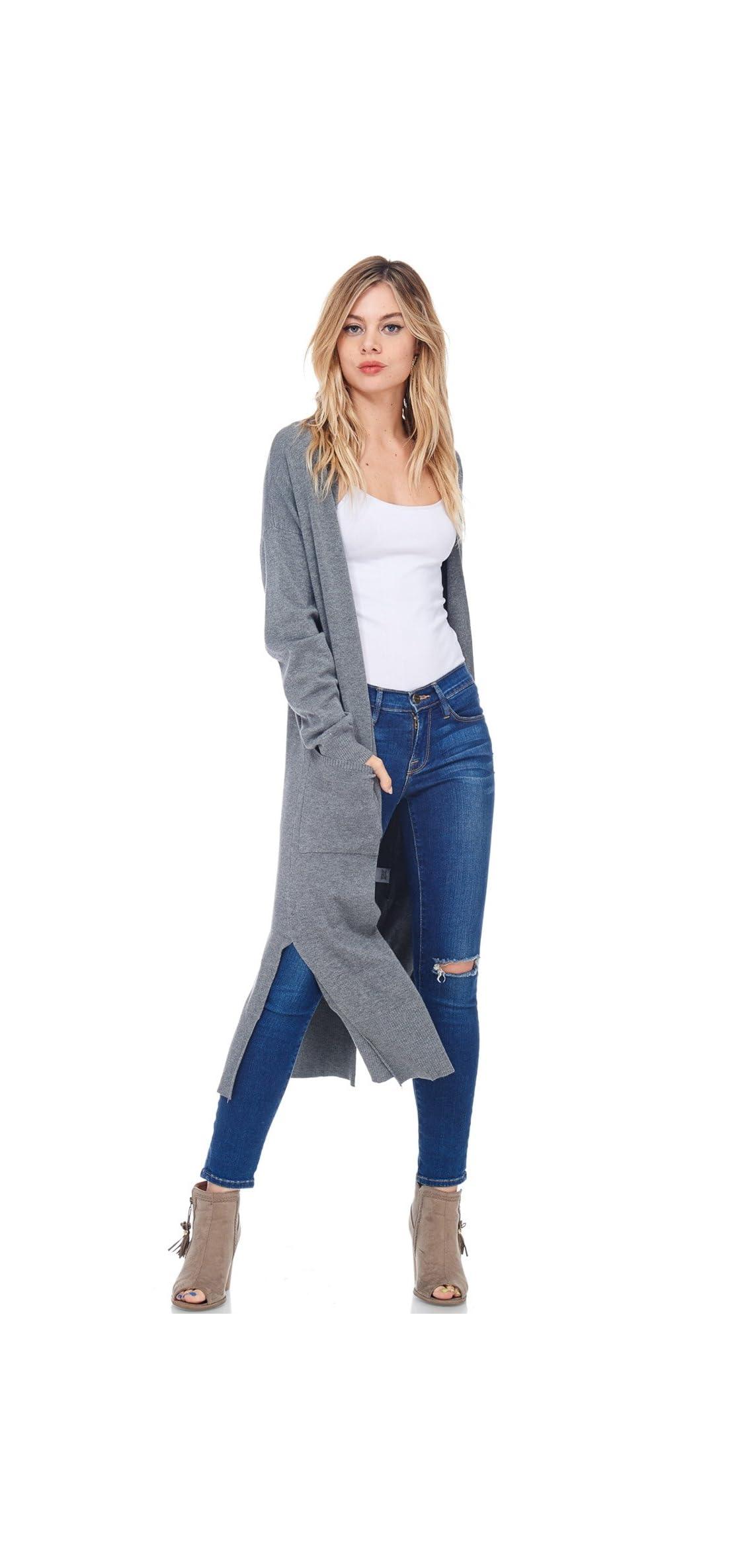 Womens Casual Longline Knit Cardigan Loose